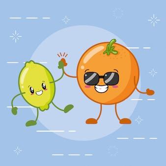 Emojis de frutas cítricas kawaii felizes