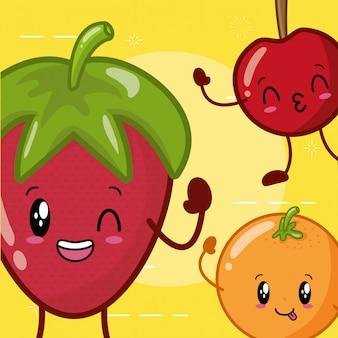 Emojis de frutas kawaii felizes