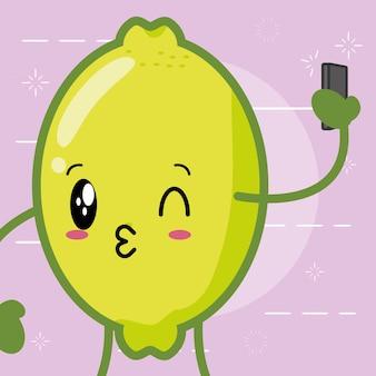 Emojis de limão kawaii feliz