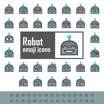 Emojis de robôs coloridos