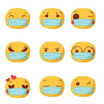 Emojis desenhados à mão com máscara facial