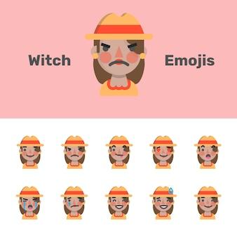 Emojis do dia das bruxas espantalho feminino