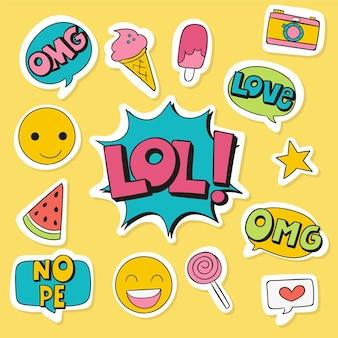 Emojis e adesivos de mídias sociais