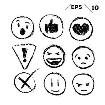 Emojis e ícones desenhados à mão isolados no branco