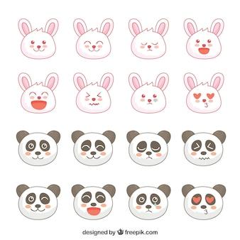 Emojis fantásticas do coelho e da panda