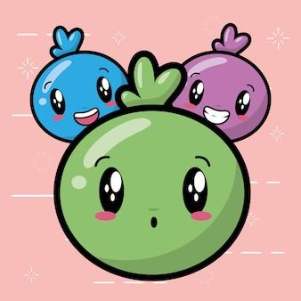 Emojis felizes, rostos bonitos de kawaii