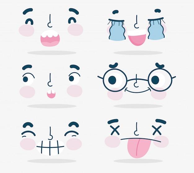 Emojis kawaii cartoon enfrenta conjunto de expressões humanas