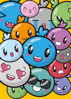 Emojis kawaii coloridos felizes