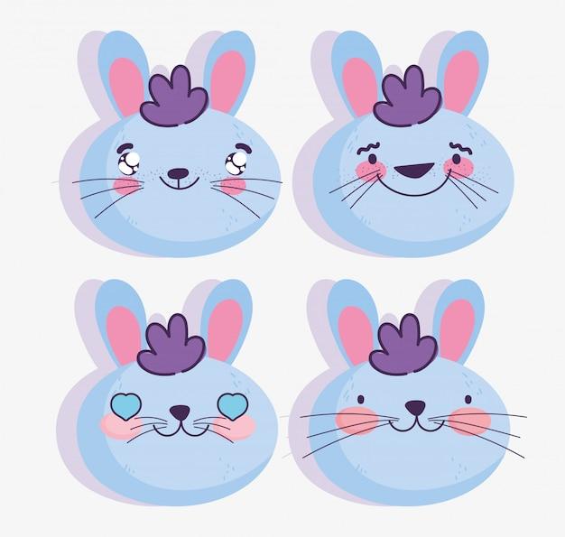 Emojis kawaii desenho animado enfrenta emoticons de coelho