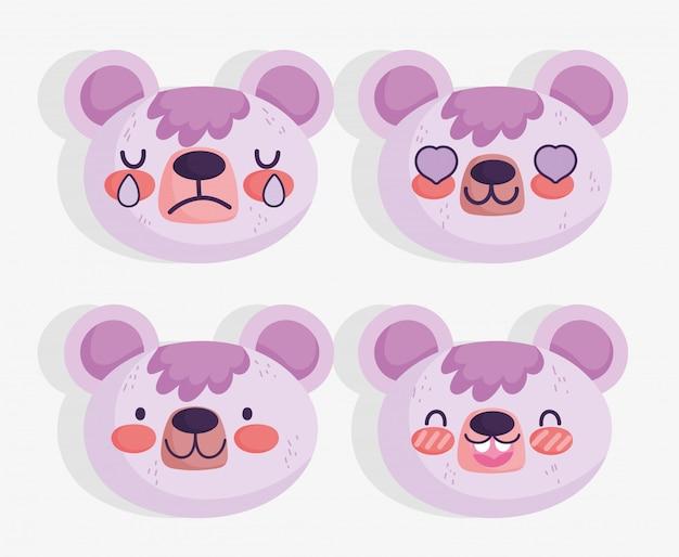 Emojis kawaii dos desenhos animados enfrenta urso fofo