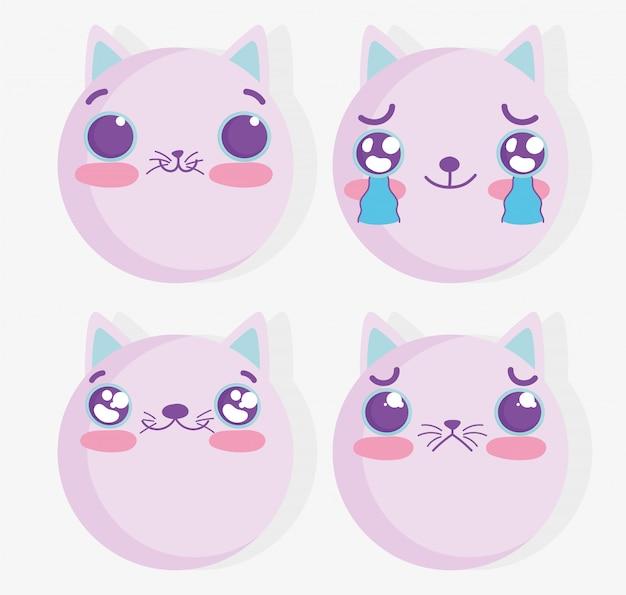 Emojis kawaii dos desenhos animados gato conjunto de rostos em quadrinhos