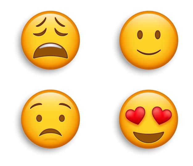 Emojis populares - emojis sorridentes com olhos de coração e rosto ligeiramente feliz e emoticons aflitos, cansados e preocupados