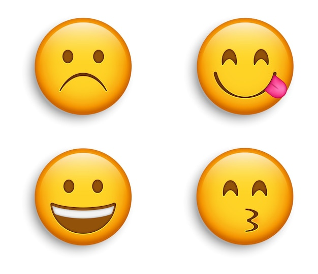 Emojis populares - face carrancuda de tristeza com emoji sorridente e emoticon kissy feliz, personagem licking lips