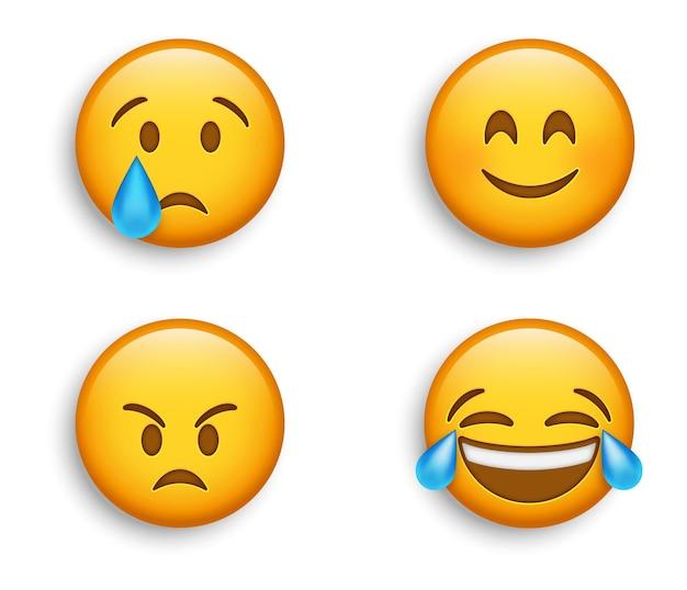 Emojis populares - rosto de sorriso fofo com olhos sorridentes - emoji zangado - lágrimas rindo de alegria - emoticon chorando