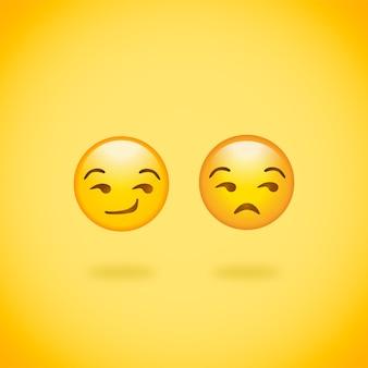 Emojis sorrindo e sem graça