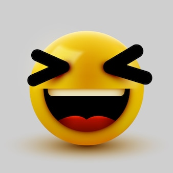 Emoticon 3d de bola sorridente