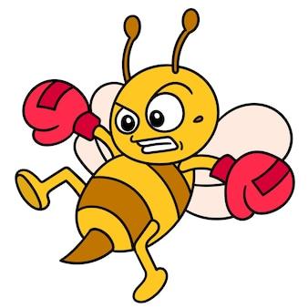 Emoticon abelha usando luvas de boxe praticando chutes durante o vôo, doodle desenhar kawaii. ilustração vetorial arte