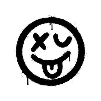 Emoticon assustador de rosto doente de graffiti pulverizado isolado no fundo branco. ilustração vetorial.