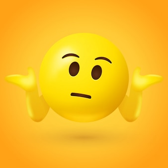 Emoticon confuso encolhe os ombros