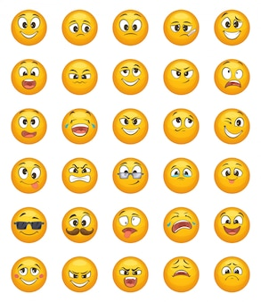 Emoticon cravejado de diferentes emoções engraçadas. conjunto de caracteres de vetor