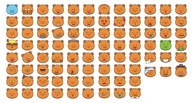 Emoticon de adesivos de urso dos desenhos animados