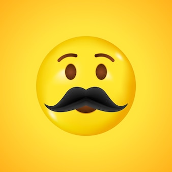 Emoticon de alta qualidade. rosto amarelo com bigodes. emoji do dia dos pais. emoji de bigode. grande sorriso em 3d