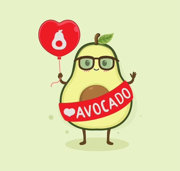 Emoticon de amor de abacate de desenho animado