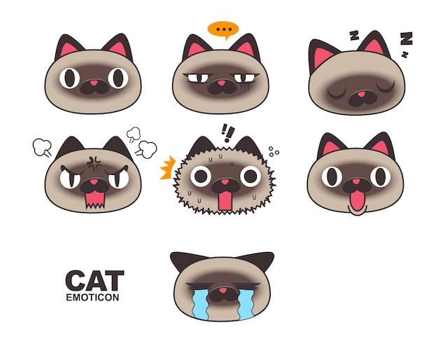 Emoticon de cara de gato siamês, emoji, expressões isoladas no fundo branco.