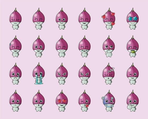 Emoticon de cebola fofa vegetal, para logotipo, emoticon, mascote, pôster