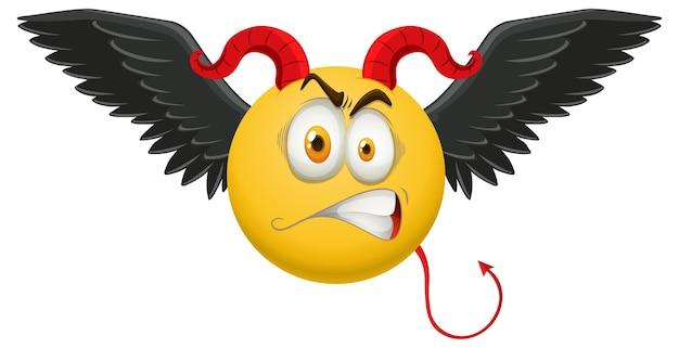Emoticon de demônio com expressão facial