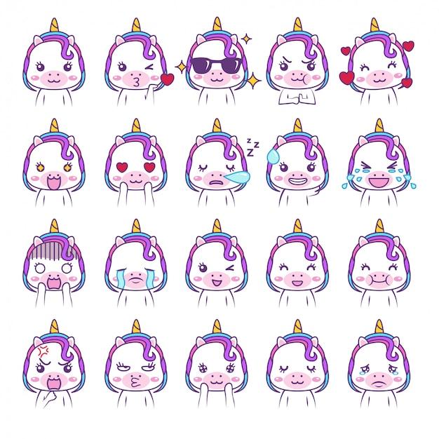Emoticon de mídia social bonito unicórnio kawaii adorável
