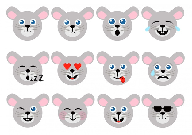Emoticon de mouse. emoticons de animais. ícones de rosto do mouse.