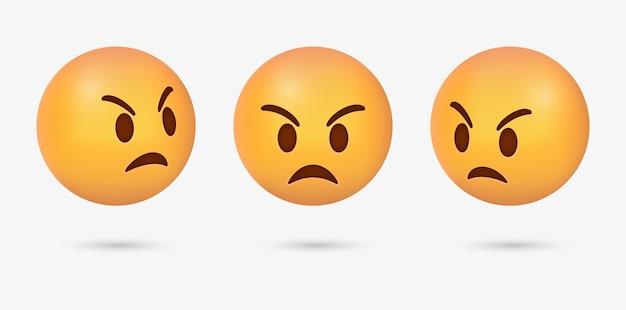 Emoticon de raiva 3d com emoji de rosto de raiva para reações de mídia social e emoções felizes