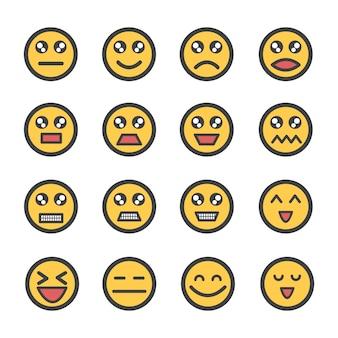 Emoticon de rosto amarelo ou emoji com conjunto de ícones de expressão facial isolado