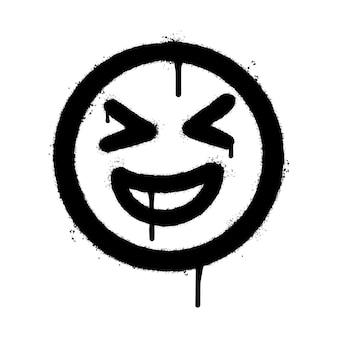 Emoticon de rosto sorridente de graffiti pulverizado isolado no fundo branco. ilustração vetorial.