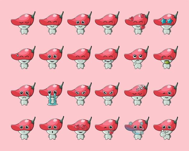 Emoticon de vegetal fofo de pimenta vermelha, para logotipo, emoticon, mascote, pôster