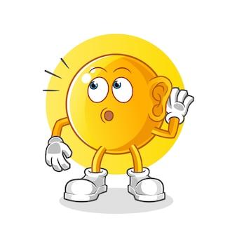 Emoticon espionando. personagem de desenho animado