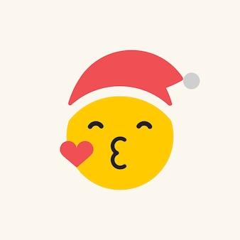 Emoticon redondo amarelo do papai noel mandando um beijo isolado