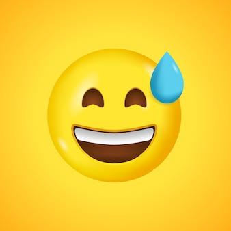 Emoticon sorridente com a boca aberta e suor frio.