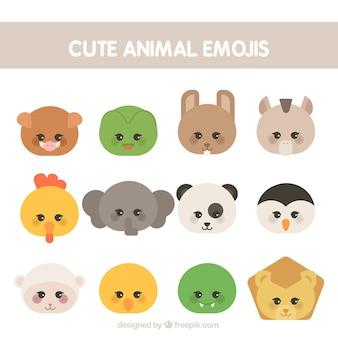 Emoticons animais bonitos no estilo geométrico