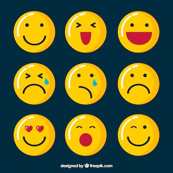 Emoticons bonitos no design plano
