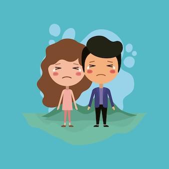 Emoticons casal no campo kawaii caracteres