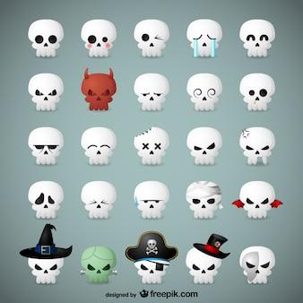 Emoticons crânio para o dia das bruxas