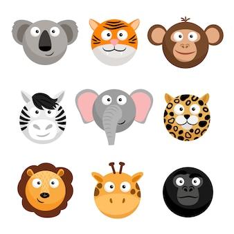 Emoticons de animais selvagens. carinhas engraçadas de desenhos animados, emojis de animais dos desenhos animados