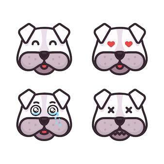 Emoticons de cães definir diferentes expressões