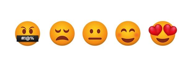 Emoticons de feedback do cliente.