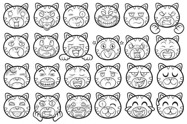 Emoticons de gato de estimação fofo e engraçado animal delinear conjunto de ilustração