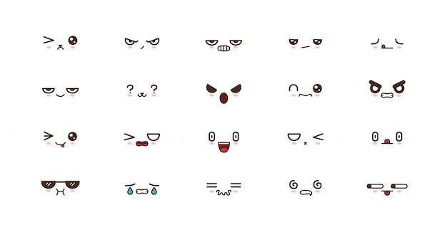 Emoticons de sorriso kawaii. emoji japonês
