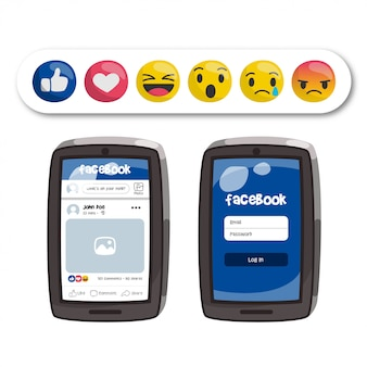Emoticons do facebook e interface do aplicativo no celular
