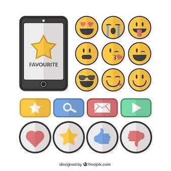 Emoticons e elementos de recolha de redes sociais em design plano